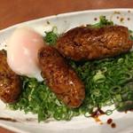 四季菜々 - 葱まみれの鶏つくね温玉添え