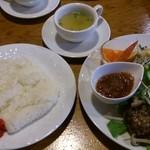 46247119 - 「和風ハンバーグ(ライス・スープ付)」(1,000円)
