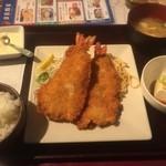 ワインとオマール海老の店 UOMO - 特大!!開き海老フライ定食(2015,12)