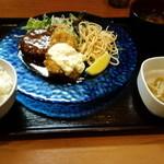 ワインとオマール海老の店 UOMO - 開き海老フライ&ハンバーグの定食(2013,4)