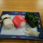 46261018 - そばセット 1296円税込み に付いてくる漬け物寿司