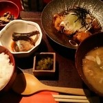 麹蔵 - 鶏唐揚げみぞれ定食+豚汁