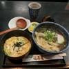福寿庵 - 料理写真:本日のサービスランチ、650円。お蕎麦、ミニ玉丼、一品、香の物のセット☆