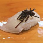 大海寿司 - ヒラメに塩昆布