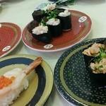 はま寿司 - イクラ、白子軍艦、あん肝軍艦