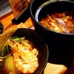 魚島屋 - 車海老の地獄チゲ鍋