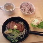 Cafe 下町の時計台 - タンステーキセット1100円
