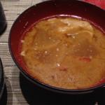 46332965 - 僧兵汁(((o(*゚▽゚*)o)))こちらも                       湯の山温泉の名物です。                       豚汁に酒粕が入ってる感じ                       ダイコンや人参もしっかり煮込まれてて美味しかったです。