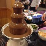 46332998 - チョコレートファウンテン                       ケーキやシュークリームを入れて食べました。                       食後のデザートビュッフェです。