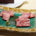 麻布十番 嘉YOSHI - しあわせ絆牛ロースと和牛タンの富士山溶岩焼き
