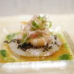 麻布十番 嘉YOSHI - 真鯛のカルパッチョ 天使の海老の紅白サラダ