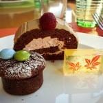 ブッフェレストラン「ブリッジ」 - チョコレートとベリーのロールケーキ・チョコカップケーキ・錦玉かん@【2016.1】新春和洋の彩スイーツブッフェ