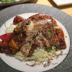 Bistro Teppan Jai faim - トマトとアボカドのお好み焼き デミグラスソースで