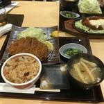 まる兵衛 - 重ねとんかつ定食(きのこご飯)¥1080☆