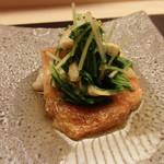 46340344 - 根室キンキ塩焼き、水菜、京揚げ
