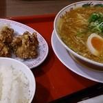 ra-menkairikiya - みそ玉子ラーメン唐揚げ定食¥1100