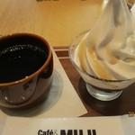 カフェ&ミール ムジ - コーヒーと餡入りソフト(650円)