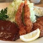 とんかつ洋食 みつば - 特製盛合せA(ロースかつ、海老フライ、ハンバーグ)