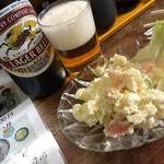 徳仙 - キリンラガーとポテトサラダ
