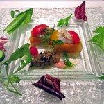 ミラヴィル - 瀬戸内魚島産 あぶり鱧のマリネと夏野菜のキューブ 小さなトマトと長茄子のキャビア仕立て添え 木苺酢のソース