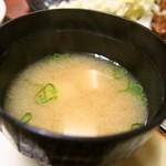 かく庄 - 豚しょうが焼定食(みそ汁)