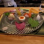 46411942 - 那須高原野菜と、赤大根を混ぜ合わせたヴィネガーライスを使ったお寿司