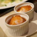 香材創作食房 アーユ - 奥美濃古知鶏のポーチドエッグ和風仕立て
