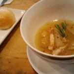 シャビー&チック - 数量限定週替りの「ランチセット」 ■こだわりスープ~「ベーコンと大根のスープ」と ■自家製パン