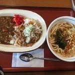山田うどん - スタミナカレーセット「690円」カレーにモツ煮は、合わない(*´з`)