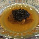 ラブレー - スペシャリテ       かぼちゃのムース金華ハムのジュレと馬糞雲丹のせ       +ベルギー産フレッシュキャビア