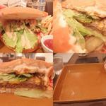 セカンド プレイス カフェ - ハンバーガー別アングル。中の具は多くないですがインパクトあります。右下:完食