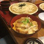 杵屋 横浜ポルタ店 - カツ丼とざるうどんのセット(^∇^)                             娘がうどん担当。自分がカツ丼担当。(笑)