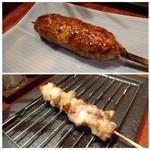 イル・フェ・ソワフ - ◆つくね・・鶏の旨みを感じて美味しいとか。 ◆親鶏のモモ・・鶏も若い方がオイシイナ、、と一言。身が硬いそうです。