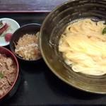 瀬戸内製麺710 - 釜玉うどん&牛めしセット(H28.1.11)