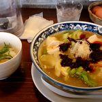 りょう花 - 極・生姜らーめん+追い飯と薬味