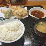 天ぷら 筧 - 【ランチ】ランチの天ぷら定食(エビ、イカ、小エビのかき揚げ、ナス、カボチャ)