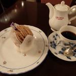 銀座みゆき館 - 和栗のモンブランとコーヒーのセット