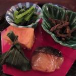 46525713 - ゴリの山椒煮、青菜、海老入りカステラ、サワラの柚庵焼き
