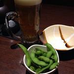 46530195 - プレモル198円とお通しの枝豆430円