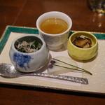 46532467 - お通し:ほうれん草のおひたし・ごぼうの茶碗蒸し・椎茸の煮物・むかご