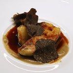 キュイジーヌ コリエドール - 鴨のフォアグラのソテー、菊芋のヴルーテとマデラソース