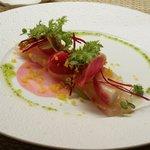 キュイジーヌ コリエドール - 鯛のマリネ、初冬野菜からすみ風味、エスドラゴンのヴィネグレット