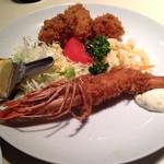 キッチンよしむら - ランチの有頭海老フライ&帆立フライ&牡蠣フライ2コ