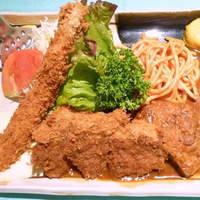 大富士 - A定食 (大エビ・一口とんかつ・ハンバーグ) 1,150円