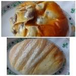 神戸屋ブレッズ - ◆上:豆パン(173円)・・金時豆タップリで美味しいそう。 ◆下:ミルクキャラメルクリームパン(227円)・・思ったほど甘くないクルームらしいですよ。 生地のフワフワとした噛みごたえが好みだとか。