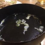 Yamaのuchi - 野菜炒めライス850円のスープ