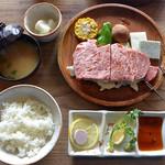 筑波山 ひたち野 - 囲炉裏焼ロースSとAセットのご飯・味噌汁