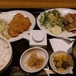 46616676 - 薄切りロースの重ね豚カツと生姜焼きのランチ(1,000円)
