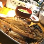 手仕ごと旬鮮台所 たかなし - アジ塩開き定食1,000円  羽根つき釜のご飯が嬉しい。