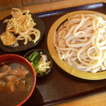 こせがわ - 肉汁うどん+大盛り+天ぷら860円